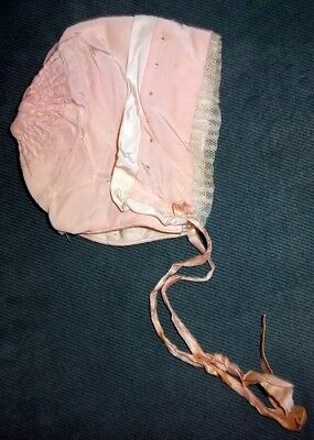 Antique Silk Pink Baby Bonnet Lace French Knot White Trim Gathered Victorian