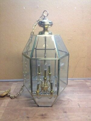 """Large 32"""" Brass And Glass Chandelier Ceiling Light Fixture"""