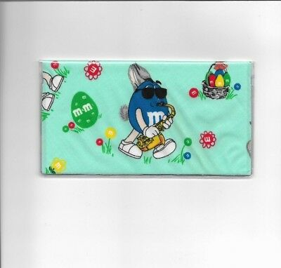 M&m Candy Checkbook Cover Registered Fabric Blue Easter Bunny Eggs Flowers