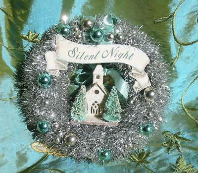 Vintage Style Bethany Lowe Christmas Small 7 inch Tinsel Blue Wreath Church New