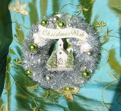 Vintage Style Bethany Lowe Christmas Small 7 inch Tinsel Green Wreath Church New