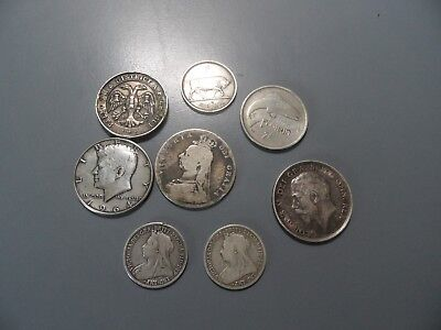 JOB LOT OF ANTIQUE & VINTAGE SOLID SILVER SCRAP COINS & ONE MEDAL 79.4g