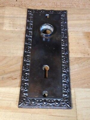 Antique Vintage Cast Iron Victorian Eastlake Door Knob Lock Keyhole Plate Part
