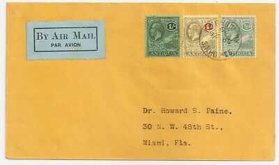 1929 Antigua To Usa First Flight Cover, Nice Franking, Few Covers Known