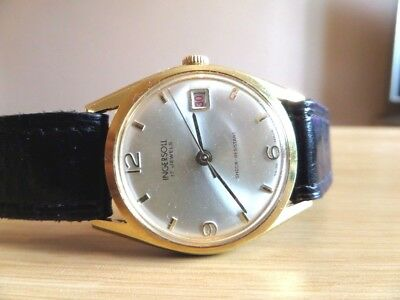Vintage INGERSOLL 17 Jewel Men's Gold Plated Mechanical DATE Watch SWISS MADE