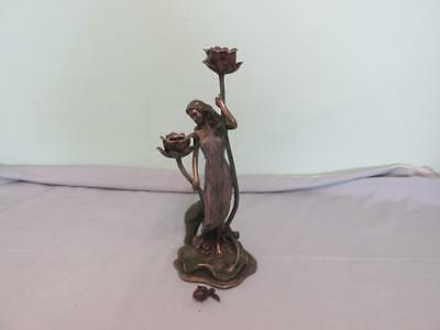 Art Nouveau Elegant Classic Lady Of The Waterlily Spelter Double Candle Holder
