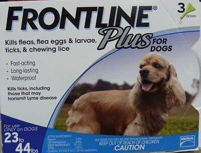 Frontline Plus For Dogs 23-44 Lbs 6 Months of Use New