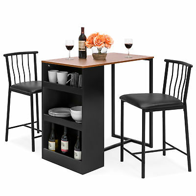 BCP Kitchen Counter Height Dining Table Set w/ 2 Stools (Espresso)