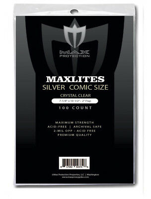 Max Pro Maxlites Premium Comic Bags Silver 100/200/500/1000 Super Clear Strong