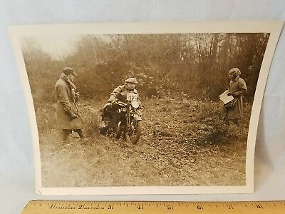 Orig 1930 Motorcycle Race Press Photo England No. 7 Trials Rudge NO Reserve