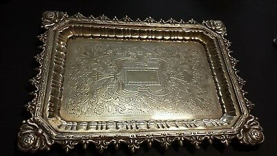 241g BRITISH NEOGOTIC STYLE COLLECTION STERLING SILVER TRAY