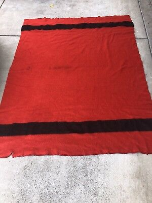 "Vtg HUDSON'S BAY 4 Point WOOL BLANKET Red 63""X 82"" Rare Red Tag Made In England"