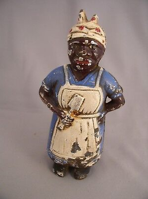 1905 CAST IRON BLACK AMERICANA BLACK COOK FIGURAL STILL BANK By A C WILLIAMS