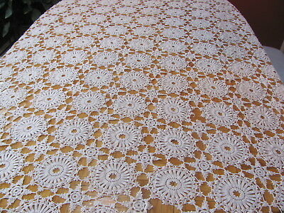 "Antique Ecru Hand Crocheted Tablecloth Fine Work 58"" by 76"""