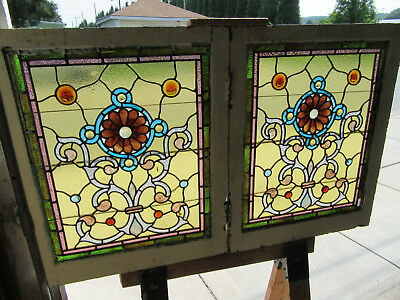 ~ Magnificent Pair Of Antique Stained Glass Windows ~ 24 X 30 Each ~ Salvage ~