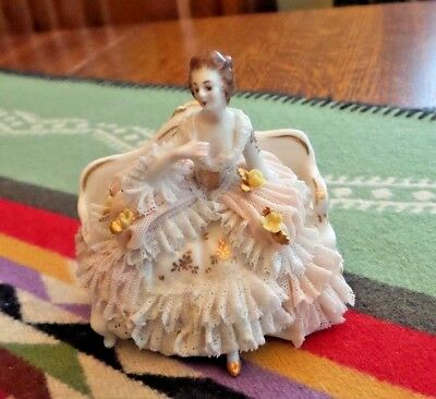 Dresden Figurine Lace German Porcelain Enchanting Woman in Pink mold #1845