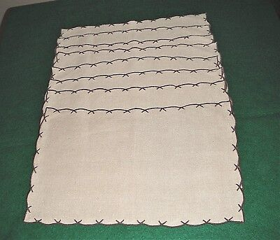 8 Vintage  Marghab Scallop #658 Linen Placemats  Beige/chocolate Brown  Lot A