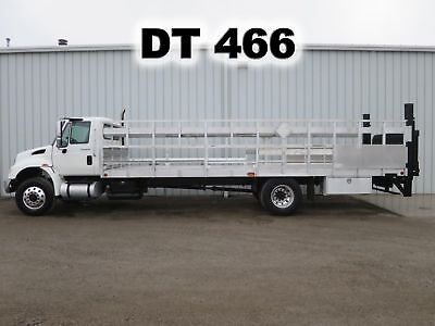 4300 Dt466 Automatic 26Ft Aluminum Flat Stake Bed Body Lift Gate Truck 117-K Mi