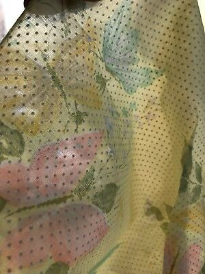 Vintage Flocked Dotted Swiss Fabric Semi Sheer Yellow Pastel Butterflies 🦋