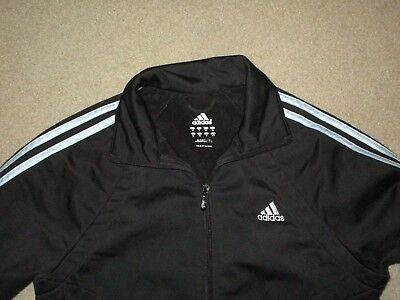 Adidas Women's Warm Up Track Jacket Black Blue Small Used Polyester