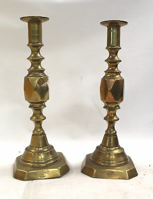 2x Antique/Vintage THE DIAMOND PRINCESS Brass CANDLESTICKS Queen's Jubilee - D14