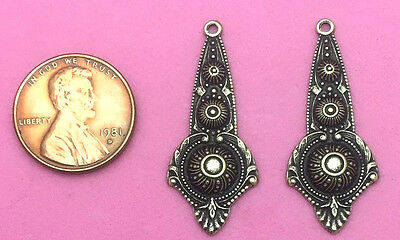 Beautifully Ornate Antique Brass Drops - 2 Pcs