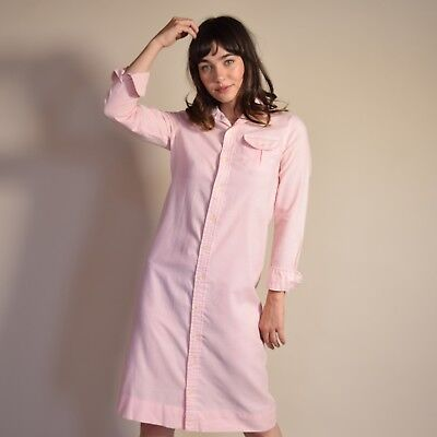 Vtg 80s millennial pink woven cotton MINIMALIST button down PREPPY shirt dress S
