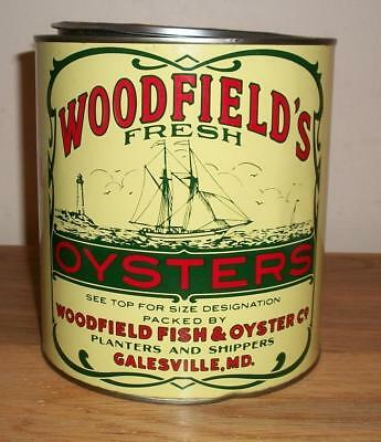 VINTAGE PRY-TOP 1 gal.  WOODFIELD'S FRESH OYSTERS TIN - Galesville, MD