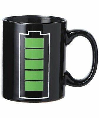 Heat Sensitive Mug Color Changing Coffee Mug Funny Coffee Cup Magic Battery Char