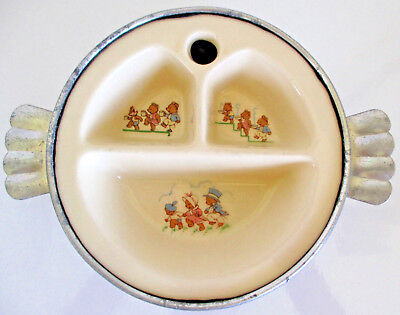 Vintage Excello Divided Baby Warming Dish Three Bears 1940s