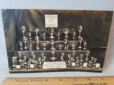 Orig 1927 Motorcycle Race Photo England No.18 Kent Club Trophies Awards NR