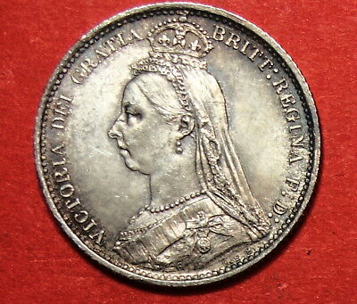 Great Britain :  Sixpence 1887. Victoria    . 0.925 Silver