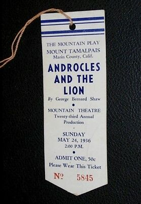 Mount Tamalpais Play 1936 Ticket And Program Androcles And The Lion