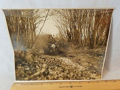 Orig 1930 Motorcycle Race Press Photo England No.19 Racing Thru Mud NO Reserve