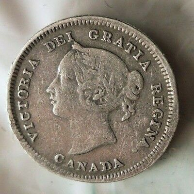1881 H CANADA 5 CENTS -  RARE Date Silver Coin - Low Mintage - Lot #816
