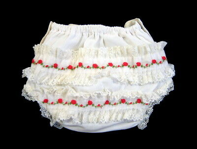 Vintage LINED DIAPER COVER Rosettes Ruffle Red Embroidery Snaps Plastic Vinyl