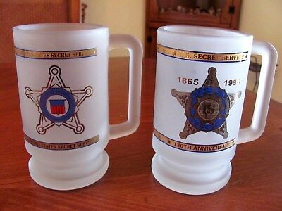 Rare United States Secret Service Frosted Large Mugs 1 Is The 130Th Anniv Exc