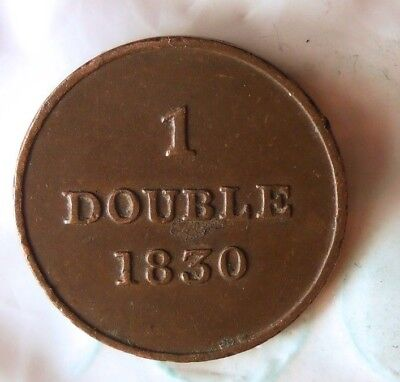 1830 GUERNSEY DOUBLE - AU - EARLY DATE - High Quality Scarce Coin - Lot #816