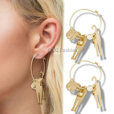 Egyptian Bastet Gold 3D Cat Kitten Pet Charms Hoop Swinging Dangling Earrings W