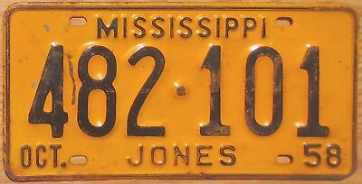 1958 Mississippi License Plate Number Tag