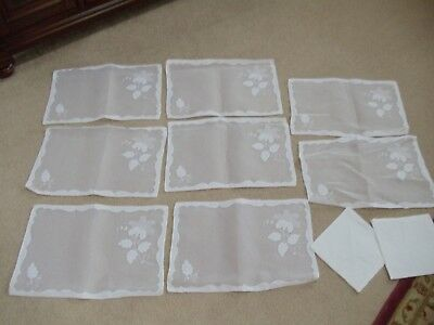 Eight Vintage Madeira Linen And Organdy Place Mats And 2 Napkins