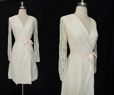 Exquisite MCM Vintage 60s 70 Ivory Lace Wrap Wedding Cocktail DRESS S