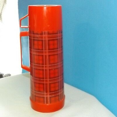 Vintage Retro RED PLAID ALADDIN THERMOS 1 Quart Size MADE IN USA
