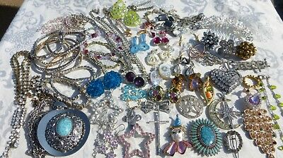BEAUTIFUL 60 Piece JEWELRY LOT Vintage and Contemporary Rhinestones Mixed NICE