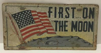 Rare Vtg 1969 Vehicle State Car License Plate First On The Moon American/US Flag