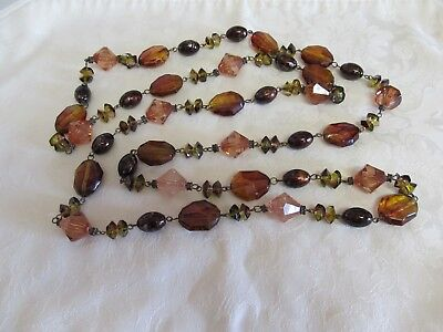 "Multi Bead 28"" Long Necklace No Clasp"