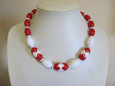 "Vintage Red & White 18"" Beaded Necklace"