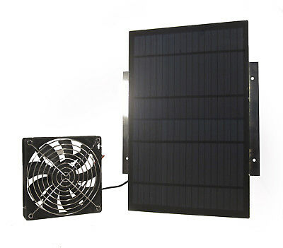 Solar Powered Waterproof Fan 10W 154CFM  for Shed Chicken Coop Dog House 9413*
