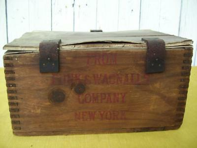 Antique / Primitive FUNK & WAGNALLS Co. Wood Shipping Crate / Box
