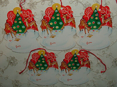 UNUSED - 5 String Tags w/ Fawns, Deer, Christmas Tree -1950's Vintage Christmas